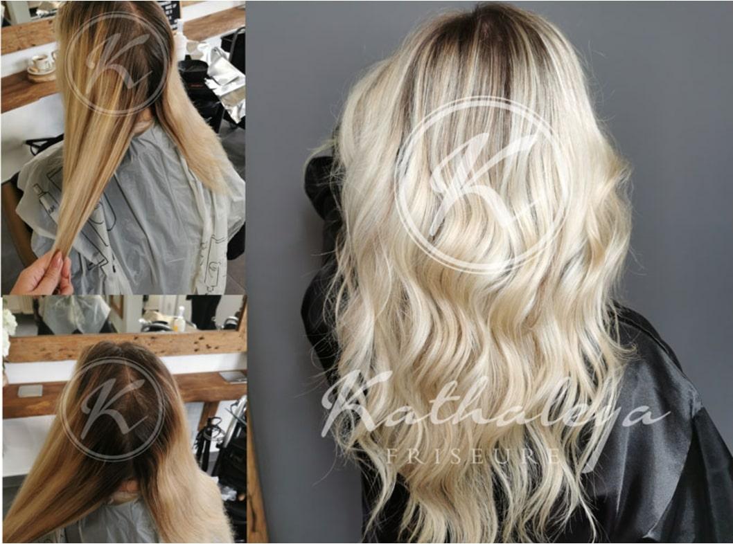 Vorher-Nachherfoto einer Frisur im Kathaleya Salon Luckenwalde